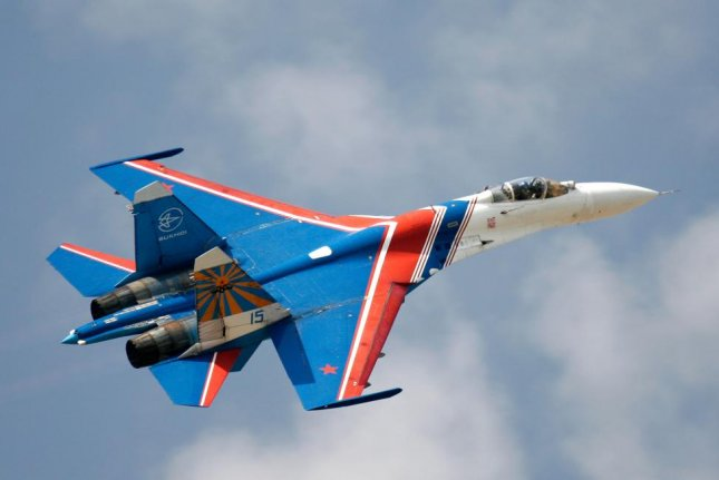 A Russian Air Force Knights SU-27. File Photo by Aleksandrs Kobilanskis/Shutterstock