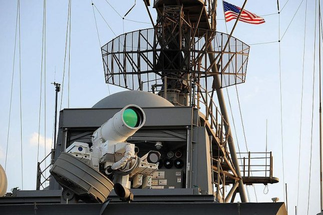 A U.S. Navy laser weapon during on-board testing. U.S. Navy photo.