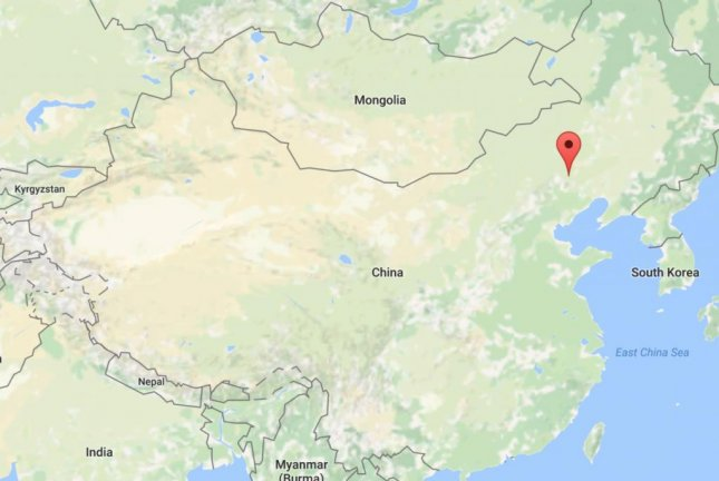 The location of the pin on this map shows Chifeng, China, a city in the Inner Mongolia autonomous region. A coal mine explosion Saturday killed 17 people in Chifeng and 10 more are trapped inside the mine. Image courtesy Google Maps
