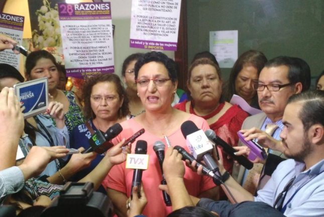 Lorena Peña, president of El Salvador's Congress, announces a bill that would decriminalize abortion in cases of rape, risk to the mother's life and if the fetus is nonviable. The bill was proposed by the ruling Farabundo Marti Liberation Front party but it needs 12 more lawmakers to pass. Photo courtesy of Farabundo Marti Liberation Front