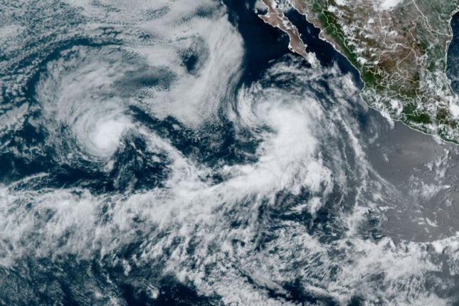 Tropical Storm Guillermo was 385 miles east of the Southern tip of Baja California and Hurricane Felicia was 1,330 miles of Baja. Photo courtesy Central Pacific Hurricane Center