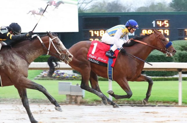 Nadal, shown winning the Grade II Rebel, returns to Oaklawn Park on Saturday as the favorite in the tougher of two divisions of the Grade I Arkansas Derby. Photo courtesy of Oaklawn Park