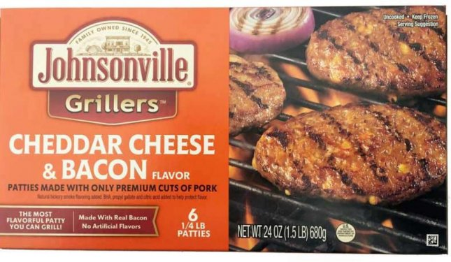 Johnsonville Grillers products such as the one shown have been recalled due to potential contamination. Photo courtesy USDA
