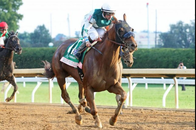 Blue Prize, shown winning last fall's Grade I Spinster at Keeneland, is favored to win Friday's Doubledogdare Stakes over the same course. Photo courtesy of Keeneland