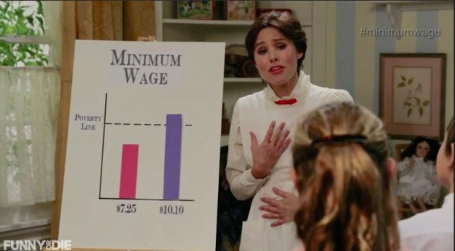 Kristen Bell as Minimum Wage Mary Poppins. (Funny or Die)