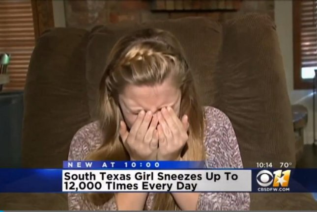 Katelyn Thornley,12, of Angleton, Texas, has been sneezing up to 20 times per minute for about a month. CBS Dallas-Fort Worth video screenshot