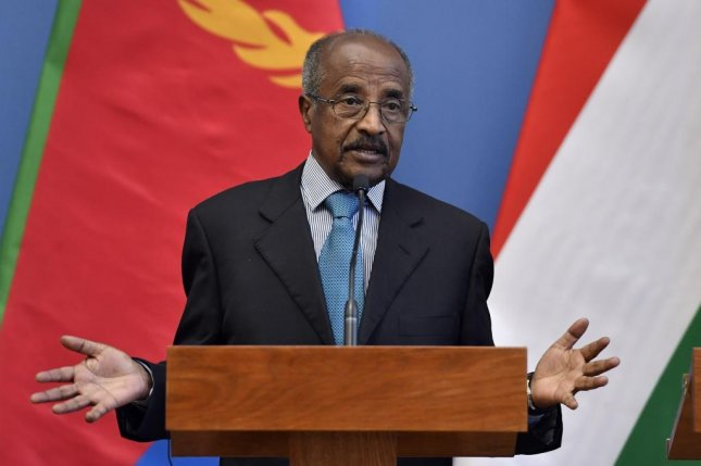 Eritrean Foreign Minister Osman Saleh Mohammed speaks during a joint press conference in Hungary in January. The United Nations extended a special monitor for the country Friday, which critics have complained about human rights abuses. Photo by Zoltan Mathe/EPA-EFE