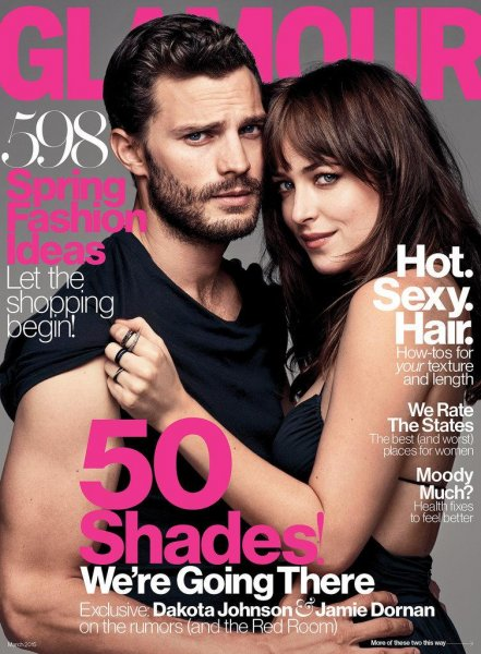 Jamie Dornan and Dakota Johnson on the March 2015 cover of Glamour. Glamour