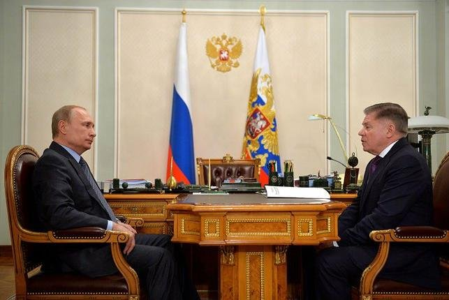 Vladimir Putin in a photograph of Supreme Court President Vyacheslav Lebedev. President of Russia website/UPI
