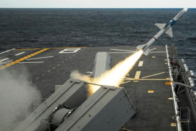 A RIM-7 SeaSparrow missile is fired from a Mk-29 launcher aboard USS Makin Island. Photo courtesy of U.S. Navy