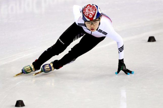 Shim Suk-hee in action during the Women's Short Track Speed Skating 1500-meter heat at the Gangneung Ice Arena during the PyeongChang 2018 Olympic Games, South Korea, on Feb. 18, 2018. Photo by How Hwee Young/EPA