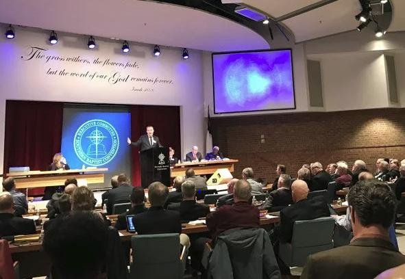 Southern Baptist Convention President J.D. Greear addresses the denomination's Executive Committee in Nashville on February 18. Photo by Bob Smietana/RNS