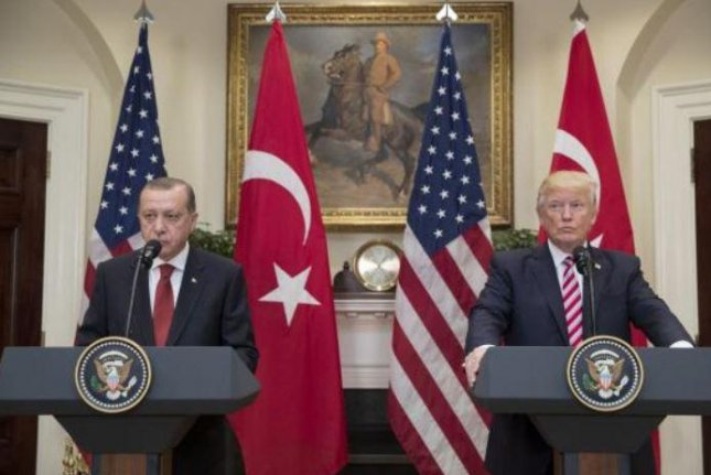 Turkish President Recep Tayyip Erdogan, L, met with President Donald Trump, R., in Washington in May, prior to a diplomatic conflict lessened by reciprocal announcements Monday that each country will again process visa applications. File Photo by Michael Reynolds/UPI