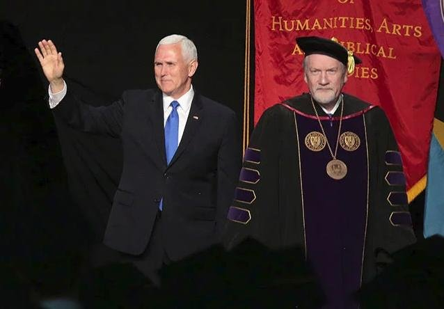 Vice President Mike Pence (L) at the 2019 Taylor University commencement at the invitation of university President Lowell Haines (R). Photo courtesy of Taylor University