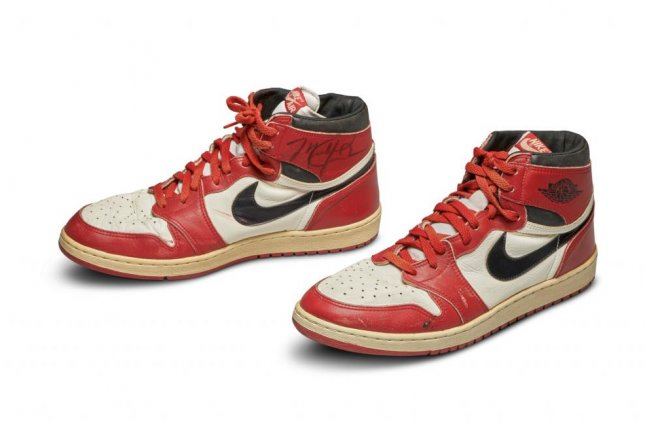 Michael Jordan's game-worn shoes from 1984 and 1985 sold for $10,000 more than the salary he made while playing for the Chicago Bulls that season. Photo courtesy of Sotheby's.