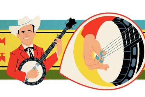 Google is celebrating acclaimed banjo player Early Scruggs with a new Doodle. Image courtesy of Google