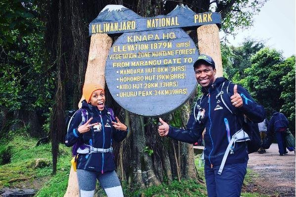 Gugu Zulu and his wife Letshego posed before climbing Mount Kilimanjaro on Thursday. Photo by Instagram/Gugu