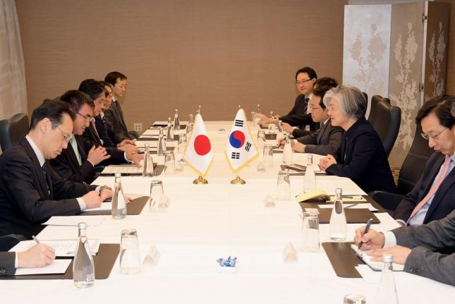 Seoul and Tokyo, often at odds over historical issues and the comfort women agreement signed in 2015, proposed a trilateral summit with China on Friday. File Photo by Yonhap