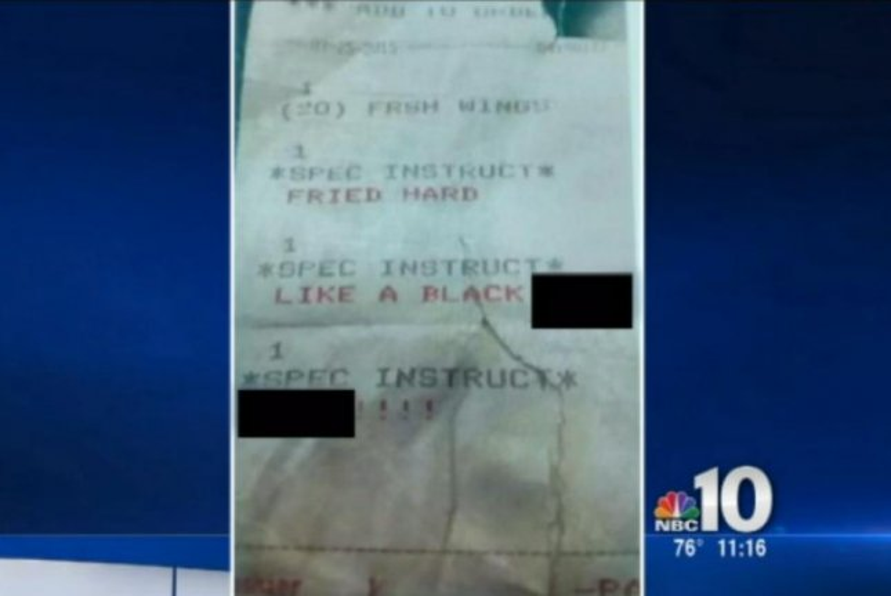 Loretta Smith Layne's receipt from Danny's Pizza Pizzazz in Bridgeton, N.J. WCAU-TV video screenshot