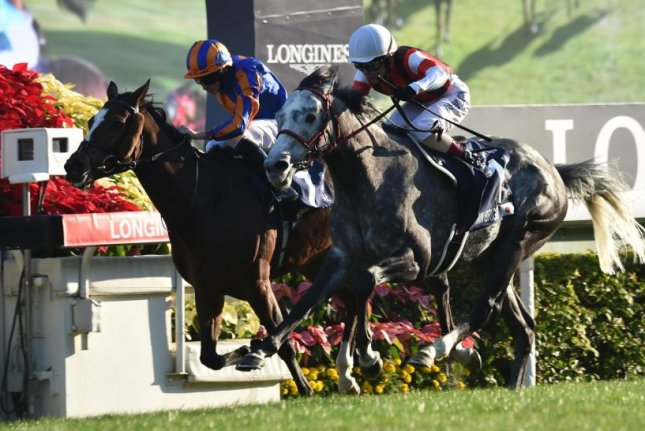 Win Bright (gray horse, white cap) edges Magic Wand in the Group 1 Longines Hong Kong Cup. Photo courtesy of Katsumi Saito