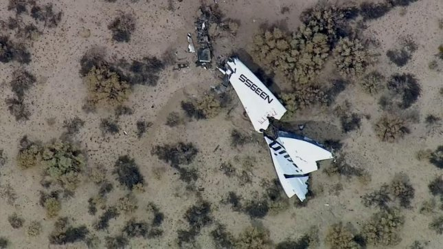 Virgin Galactic's SpaceShipTwo exploded mid-flight over California's Mohave Desert on Oct. 31, 2014. Screengrab:KABC