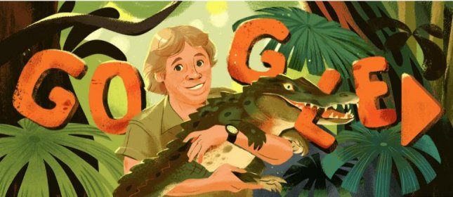 Google is paying homage to Crocodile Hunter Steve Irwin with a new Doodle. Image courtesy of Google