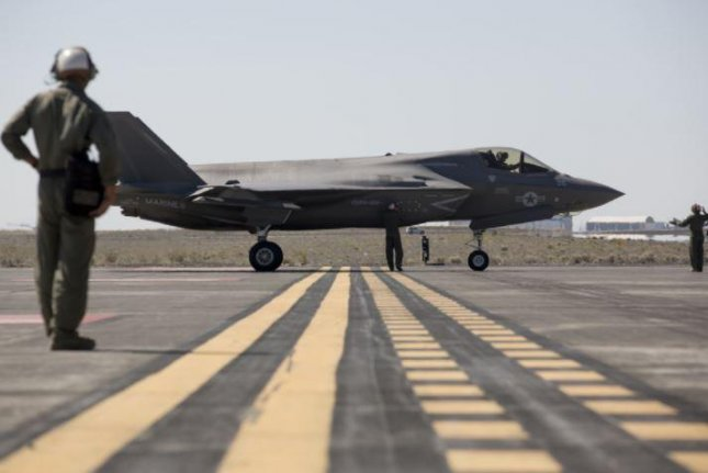 A Marine Corps F-35 aircraft stands at Moses Lake, Wash., in anticipation of the month-long Summer Fury 21 exercises. Photo by Cpl. Levi Voss/U.S. Marine Corps