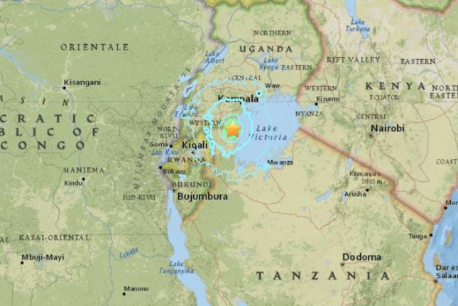 The star on this map shows the epicenter of a 5.7-magnitude earthquake that struck northern Tanzania on Saturday afternoon. Officials said 11 people were killed. Map courtesy U.S. Geologic Survey