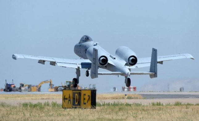 The last of the U.S. Air Force's 173 A-10 Thunderbolt planes to receive a wing replacement takes off from Hill AFB, Utah, on August 12, 2019. Photo by Alex R. Lloyd/U.S. Air Force/UPI