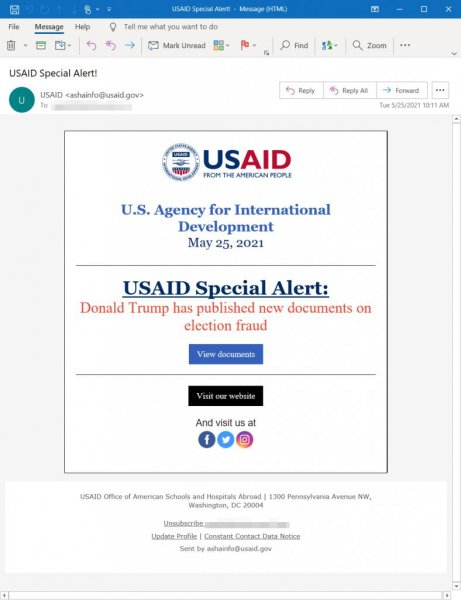 Microsoft said the hacker ground Nobelium gained access to the Constant Contact account of the U.S. Agency for International Development to send authentic-looking phishing emails that contained a link to a malicious file. One iteration of the email claimed to be a USAID alert concerning election fraud documents published by former President Donald Trump. Photo courtesy of Microsoft/Website