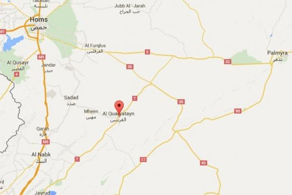 The Syrian air force killed 30 Islamic State fighters holding the town of al-Qaryatain, in Syria's central Homs province, on August 8, 2015, according to Syrian state news. IS forces captured the strategically important town from regime troops last week. Image from Google Maps