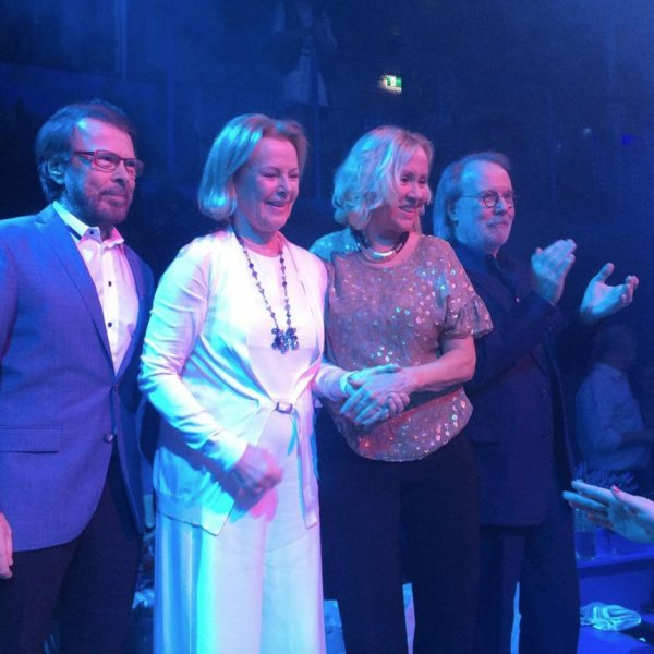 (L-R) Björn Ulvaeus, Anni-Frid Lyngstad, Agnetha Fältskog and Benny Andersson of the famous Swedish pop group ABBA reunited Wednesday for the opening of a new Mama Mia' themed restaurant in Stockholm. Photo courtesy of ABBA/Facebook