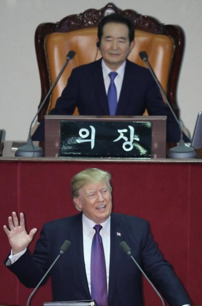 U.S. President Donald Trump addresses the National Assembly in Seoul on Wednesday morning, the first U.S. president to do so in 24 years. Photo by Yonhap
