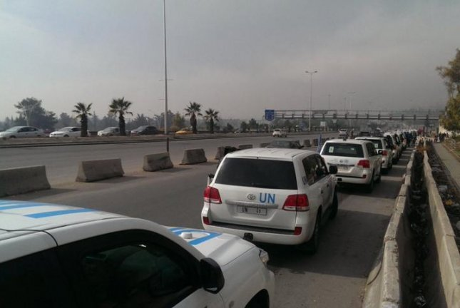 A humanitarian convoy supported by the United Nations is en route on Monday to Madaya, a besieged town in Syria desperately needing food and supplies. The convoy's provisions should last a month for about 40,000 people. Photo courtesy of United Nations Office for the Coordination of Humanitarian Affairs -- Syria