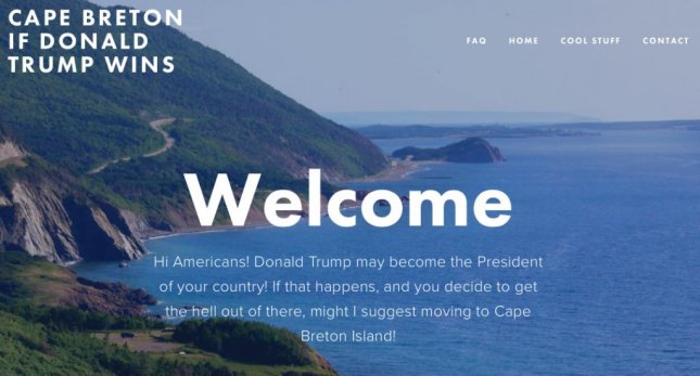 Canadian radio personality Rob Calabrese launched a website encouraging Americans to move to Cape Breton Island in Nova Scotia if Donald Trump is elected president. Screen shot/cbiftrumpwins.com