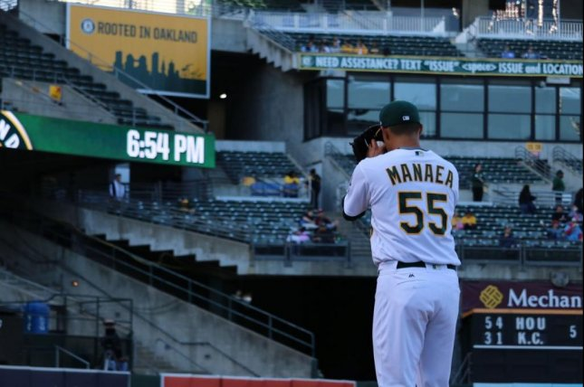 Oakland's Sean Manaea struck out seven, walked three and threw a career-high 111 pitches. Photo courtesy Oakland Athletics/Twitter