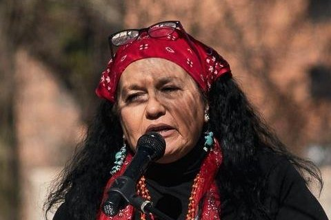 Deborah Maytubee Shipman, who has tracked missing and murdered indigenous women on social media for five years, speaks at a red dress rally. Photo courtesy of Deborah Maytubee Shipman