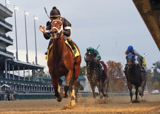 Spelling Again rolls to victory in Saturday's Grade II Chilukki Stakes at Churchill Downs. Photo by Churchill Downs