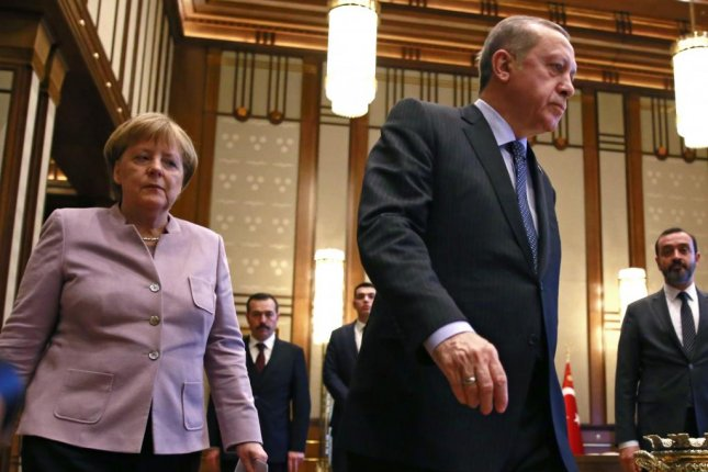 The German government blocked 11 arms deliveries to Turkey out of fear the weapons may be used to oppress the local population. Pictured, German Chancellor Angela Merkel meeting with Turkish President Recep Tayyip Erdoğan. Photo by Tumay Berkin/EPA