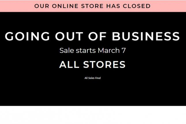 An image of the Charlotte Russe website Thursday reflects the company's decision to close its stores in the United States. Image courtesy Charlotte Russe.com