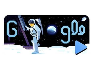 Google is paying homage to the 50th anniversary of the moon landing with a new Doodle and video narrated by Apollo 11 astronaut Michael Collins. Image courtesy of Google
