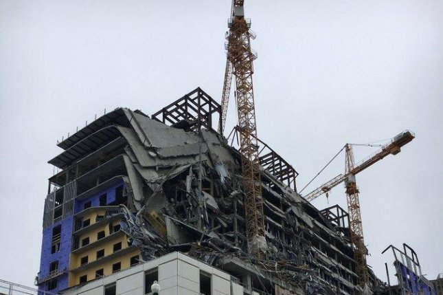 The upper floors of the Hard Rock Hotel under construction in New Orleans collapsed Saturday. Photo courtesy of the New Orleans Fire Department