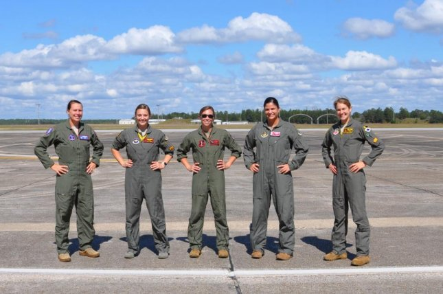Five female fighter pilots wear the modified Advanced Technology Anti-Gravity Suit for flight testing at Eglin Air Force Base last month. Photo by 1st Lt. Savanah Bray/U.S. Air Force