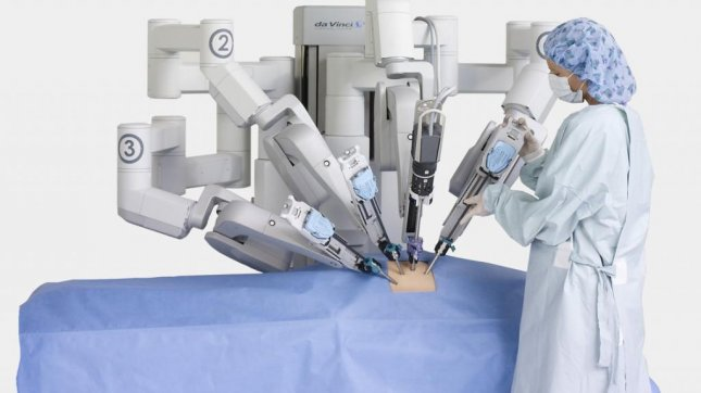 The da Vinci Surgical System is a robotic surgical system made by the American company Intuitive Surgical. (Credit: Intuitive Surgical)