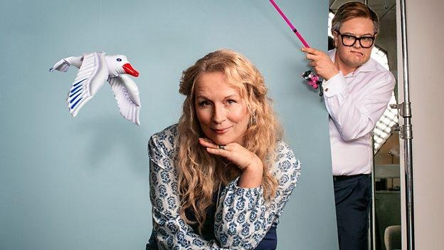 Jennifer Saunders and Alan Carr are lampooning Mamma Mia! for another Red Nose Day parody. Photo courtesy of BBC