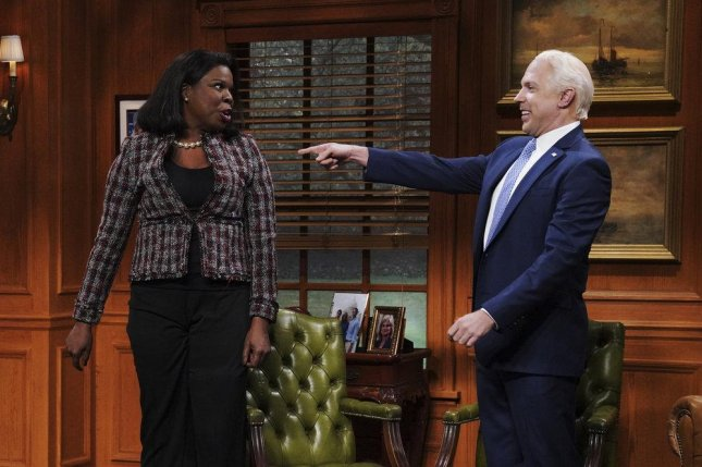 Leslie Jones and Jason Sudeikis appear in a sketch from this weekend's edition of Saturday Night Live. Jones plays an enthusiastic voter meeting former vice president Joe Biden. Photo courtesy of NBC