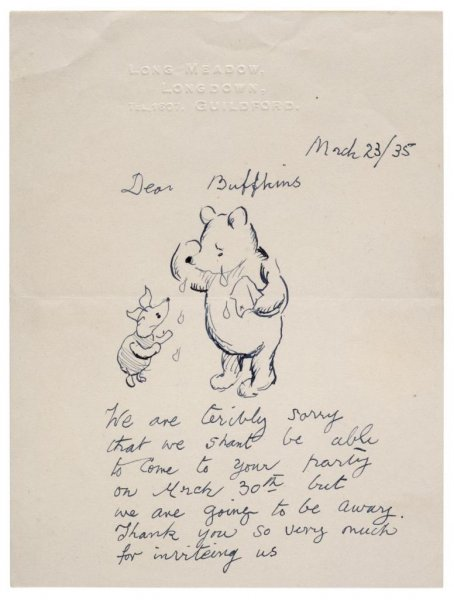 A letter written by Winnie the Pooh illustratorErnest Howard Shepard in the guise of the fictional bear in 1935 sold for more than $15,000 in an auction. Photo courtesy of Dominic Winter Auctioneers