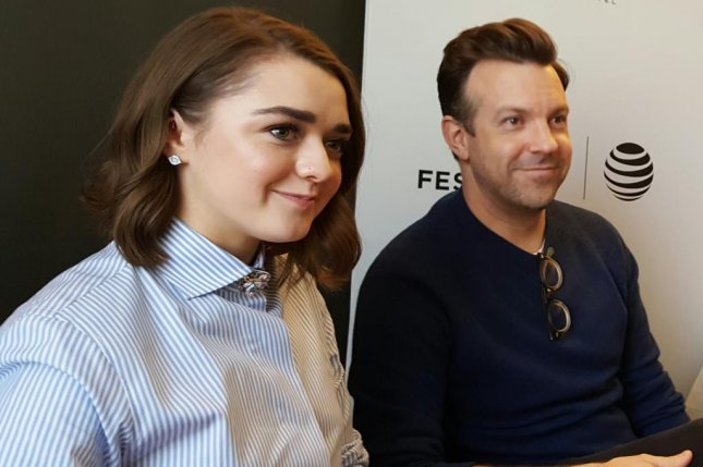 Maisie Williams and Jason Sudeikis talk about their new movie The Devil and the Deep Blue Sea at New York's Tribeca Film Festival on Thursday. Photo by Karen Butler/UPI