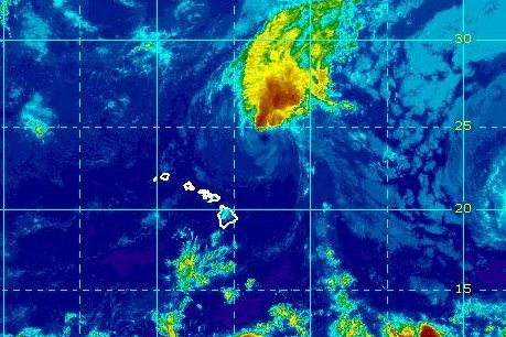 Tropical storm Norman headed away from Hawaii on Friday. Image courtesy of the National Oceanic and Atmospheric Administration