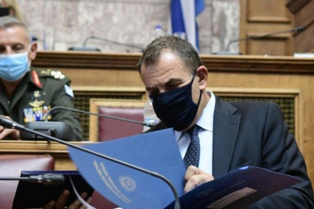 Greek Defense Minister Nikolaos Panagiotopoulos, pictured Wednesday at the Helennic Parliament, is expected to announce a major arms deal with France on Saturday.  Photo courtesy of Greek Ministry of Defense